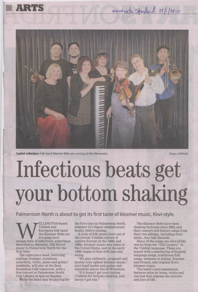Klezmer Rebs article in Manawatu Standard 15-1-10